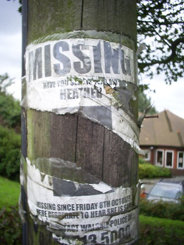 Missing poster photographed by Chu in Walsall, UK