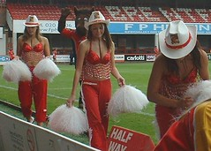 Cowgirls: during London Broncos 68 Widnes Vikings 10 (2005) (cheerleaders_cowgirls) Tags: girls london girl cow code cheerleaders dancers dancing rugby cheer leaders 13 cowgirls broncos league leyla hussain x111 husseyine