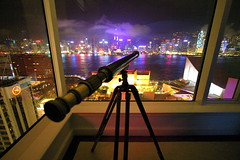 Telescope (Automatt) Tags: city pink water skyline night hongkong interestingness purple tripod moo telescope blogged magical fave50 clustershot qoop06 gettypick