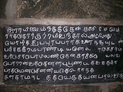 Tenkasi-story1 (Ravages) Tags: world old travel india history monument stone writing temple ancient asia time carve granite record language script tirunelveli chisel etch tamil tamilnadu tenkasi rockcut indianness epigraphy  stoneinscription  vattezhuthu  visitindia visitchennai