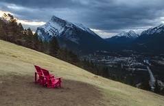 Green Spot with a View (corybeatty) Tags: canada light sunrise sunset morning clouds cloud rockies rocky mountains alberta trees landscape banff national park green spot village rundle muskoka chairs