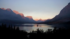 Saint Mary Lake (Robby Edwards) Tags: vacation lake mountains water sunrise island nationalpark bravo montana interestingness1 glacier glaciernationalpark goingtothesunroad saintmarylake wildgooseisland sunpoint abigfave