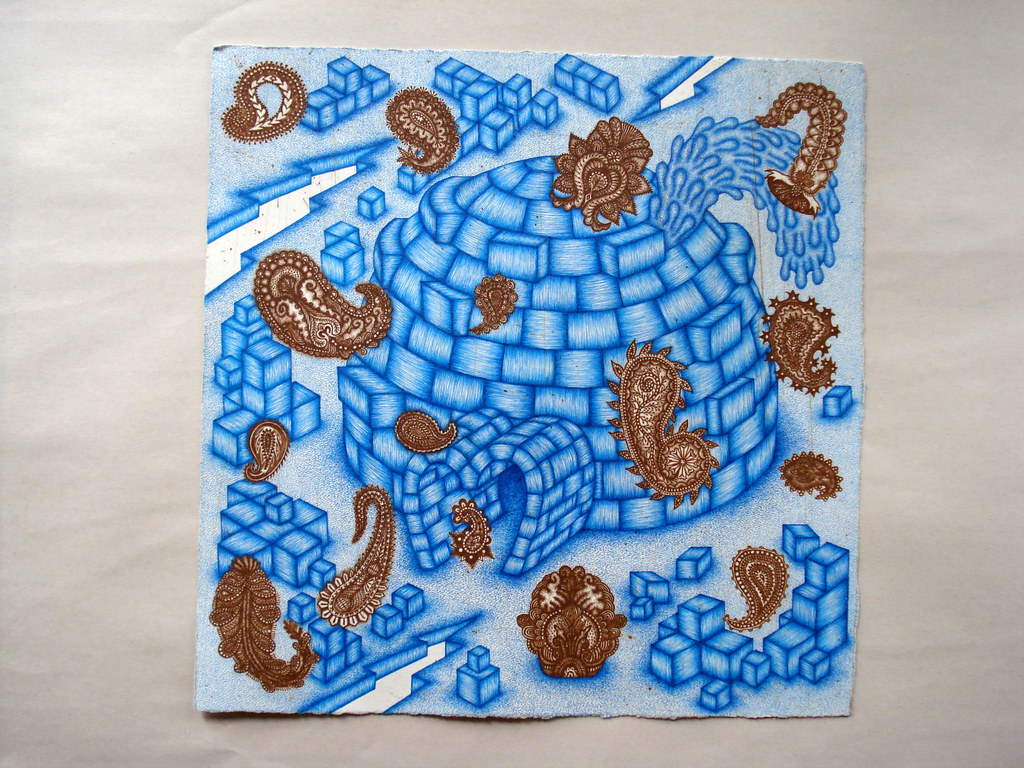 artist: <ARTIST_NAME_META> <ALT_TAGS> &quot;Melting Igloo&quot; drawing by Valerie