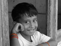 smiling boy of north halmahera (dik wati) Tags: boy portrait bw smiling edited halmahera selectivecoloring northmaluku tobelo