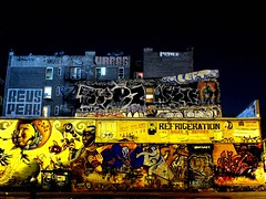 Williamsburg Graf (mercurialn) Tags: streetart ny architecture brooklyn night graffiti si ghost revs peak pacman williamsburg gothamist jesussaves left perce kez muk ris ymi refrigeration leeto var85 varbs salesrepairs graphicunionpress 139graf