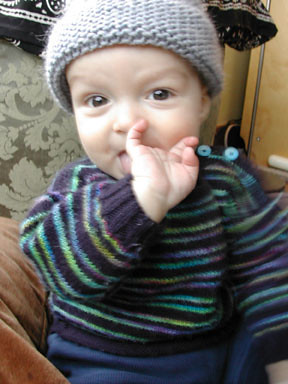 Lamb's Pride hat / Striped Sweater by baby finds a kazoo
