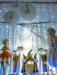 Snowman Window Display (Maureen Medina) Tags: winter holiday christmas xmas window display snowman gnomes maureenmedina artizenimages lighted whimsical