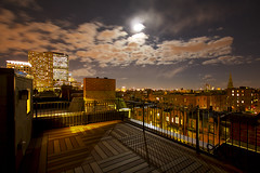 Roof Deck under the Full Moon (Pear Biter) Tags: longexposure boston skyline interestingness nightshot fullmoon nightsky roofdeck 1022mm southend 30d instantfave
