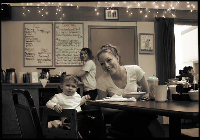 Somewhere in Arizona, Mother and Child Dining at Hobo Joe's