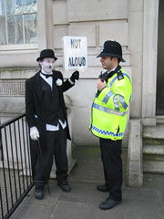 """Stop pulling funny faces!"" (little tramp) Tags: london art silent protest neil activism tramp chaplin downingstreet goodwin littletramp silentprotest notaloud"