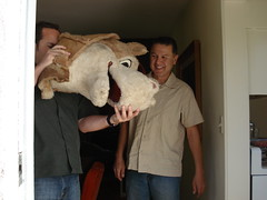 John and Steven and The Horsehead (.Hollie.) Tags: horse la losangeles los angeles head mascot visits the mascothead