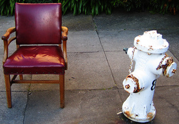 chair, with hydrant, on mild incline, grounded by foliage