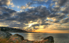 Malibu Sunrise (thedarkedge) Tags: ocean sky beach water grass clouds sunrise rocks malibu hdr charthouse