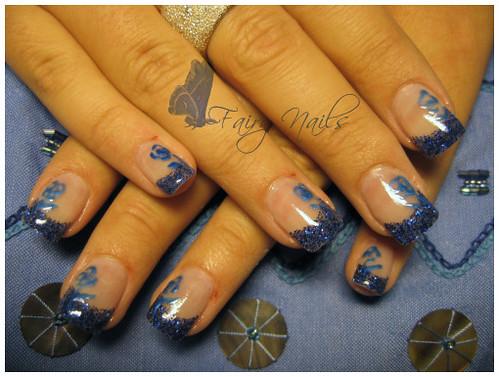 nail art gallery, Blue roses, nail art designs, nail polish gallery, Blue roses nail art gallery, flower nail art., nail art designs gallery