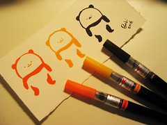 Panda in 3 colors (Bubi Au Yeung) Tags: orange cute yellow sepia illustration sketch colorful panda bubi doodle pentelcolorbrush fabrianowatercolorpaper ilovepanda