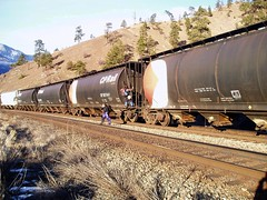 Hobo Climbers (Dru!) Tags: railroad canada train bc britishcolumbia tracks railway siding approach hobo iceclimbing trainspotting climbers thompsonriver trainhopping goldpan goldpanprovincialpark
