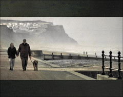 . Dog Walking III - Cinema . (3amfromkyoto) Tags: uk sea england people woman dog mist cinema man beach movie walking couple widescreen norfolk 2006 cliffs promenade letterbox february railing seafront cinematic groyne cromer 3amfromkyoto flickr:user=3amfromkyoto