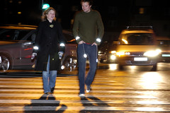 Pedestrian safety: Use retroreflectors in the dark (mrjorgen) Tags: city urban by gate pedestrian safety pedestrians reflective reflector roadsafety tryggtrafikk illustrasjonsfoto refleks mørke fotgjenger riskreduction accidentprevention pressebilde retroreflector