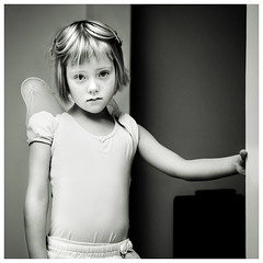 The Lonely Ballerina (magnusmagnus) Tags: portrait bw white black girl face d50 iceland kid eyes nikon ballerina alone child sad young reykjavik lonely reykjavk 1870