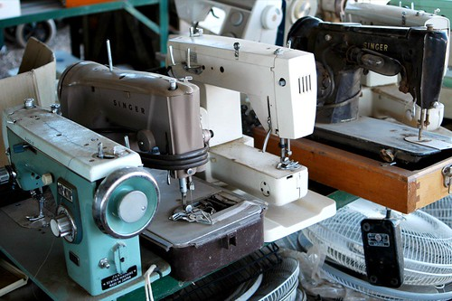 sewing machines at the salvage yard