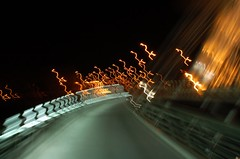 Crazy Bridge 2 (ManuelChao [ MoMoChao / ManuChao]) Tags: road street longexposure bridge light espaa bus luz water lamp leaves night ro way puente lights noche calle movement poste farola glow torre underwater shadows shine place carretera perspective loco movimiento seis farol logroo autobus rioja sobre larga espaol brillo redonda exposicin fount