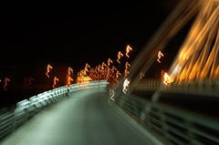 Crazy bridge (ManuelChao [ MoMoChao / ManuChao]) Tags: road street longexposure bridge light espaa bus luz water lamp leaves night ro way puente lights noche calle movement poste farola glow torre underwater shadows shine place carretera perspective loco movimiento seis farol logroo autobus rioja sobre larga espaol brillo redonda exposicin fount