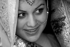 rani III (Ms Minnow) Tags: portrait blackandwhite bw white black girl beautiful beauty face eyes indian jewelry desi sari rani