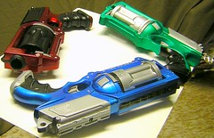 Anodized-paint Nerf Mavericks (animakitty) Tags: blue red green toys mod shiny painted foam weapon guns revolver nerf modded nerfmaverick metalcast duplicolor duplicolormetalcast