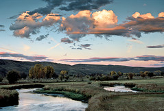 Tomichi Creek Sunset: East of Gunnison, Colorado (CO) (Floyd Muad'Dib) Tags: ranch trees sunset plants usa plant tree water america creek geotagged us colorado stream unitedstates united hill north sunsets hills southern pasture cottonwood co vegetation northamerica pastures meander streams states americanwest creeks gunnison cottonwoods meandering ranches westernusa meanders southerncolorado gunnisonco tomichi gunnisoncolorado coloradoranch tomichicreek