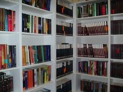 Estanterías con libros de Minotauro, Bibliópolis y La Factoría en la tienda cyberdark.net