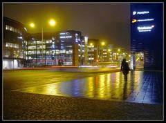 Lonely ([ Petri ]) Tags: reflection night finland helsinki alone citylights lonely ruoholahti 1on1 rainynight helluva abigfave