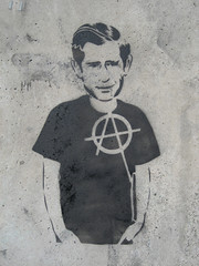 Anarchy Monarchy (mr_la_rue) Tags: street uk england urban streetart art newcastle graffiti stencil graf charles prince 2006 anarchy graff princecharles royals