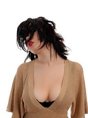 Gold dust woman (Rune T) Tags: red portrait woman white girl pose hair gold soft lips sensual lipstick pinkham