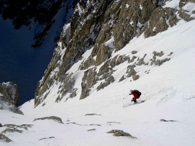 Reed Finlay skis the Ford Couloir on the Grand Teton