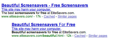 Google Malware Warning In SERPs