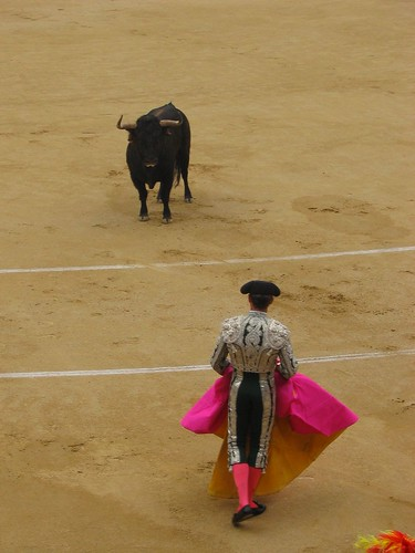 Bullfight at Plaza de Toros, Madrid; ← Oldest photo