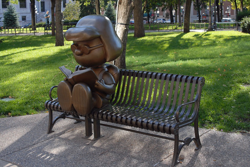 Statue of the Peanuts Character Marcie Reading, Rice Park, St. Paul, MN