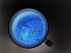 Galaxy in a Mug (Don Gru) Tags: blue black cup tasse coffee colors canon kaffee ixus700 ixus negative galaxy mug inverted mugshots invert negativ kaffeetasse kaffehferl einsonce kw1567