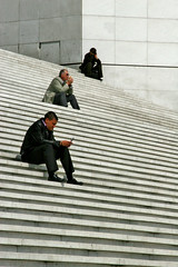 The Waiting Sequence (Pensiero) Tags: woman man paris men stairs sitting ladefense lagrandearche spselection
