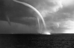 Triple water spouts (dougkeeney) Tags: coastguard clouds danger scary reptile aviation military airplanes spooky tornados snakes rattlesnake badweather c130 coolpics venomous weirdstuff nationalarchives waterspouts snakesonaplane weatherphenomena snakesinthewheel photosofsnakes wwwmyphotopipecom