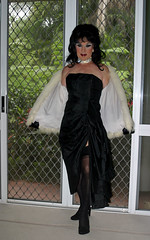 Black Gown and Fur (Christine Fantasy) Tags: fur feminine makeup christine fantasy transvestite gown crossdresser transsexual shemale