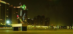 Melcher Frontside Blunt (candersonclick) Tags: longexposure chicago skyline skateboarding panoramic hasselblad nightshots patrickmelcher frontblunt cropped2pan