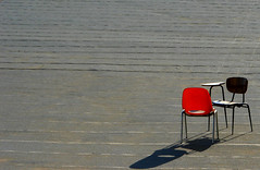 Conversation (Shemer) Tags: shadow red lines chair jerusalem gray