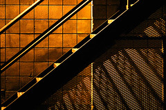 stair rays ( marc_l'esperance) Tags: light abstract texture geometric lines metal wall night stairs canon dark eos alley pattern shadows angle mesh geometry abstractart patterns bricks  angles 2006 surface 10d existinglight kelowna grating nocrop uncropped notripod allrightsreserved textured handrails cml canonef70200mmf28lusm ef70200mmf28l canon70200f28l sodiumvapourlamp artificialillumination artlibre 123f50 conradtour2006 monipick atoosapick scottpick waxystopnotch