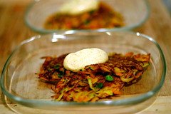 Indian Spiced Vegetable Fritters with Curry-Lime Yogurt