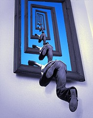 Today we escape. (Man) Tags: blue sky wall jump escape infinity gimp explore jeans frame recursive escher escheresque droste printgallery interestingness176 i500 manuperez