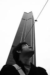 Good bye city ... (saygin.dogus) Tags: portrait bw white black paris france monument noir pigeon ali montparnasse blanc parisian lunette visage glasse alik parisien