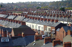 Belfast Terraced Houses (Moochin Photoman) Tags: belfast explore northernireland terracedhouses andrising southbelfast moochinphotoman ormeaubakery soontobeapartmentsofcourse chimneyschimneyseverywhere wheretheworkersoncelived rooftopviewfromtheormeaubakery