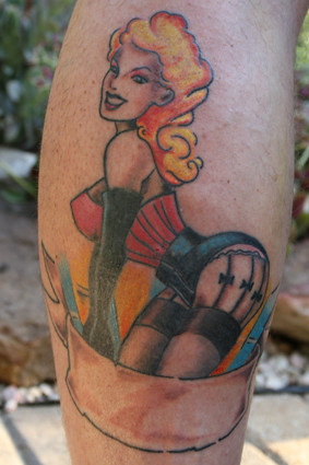 Tattoo of Sexy Pinup Girl in Stockings and Garters