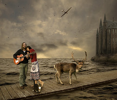 Along the Path (Mattijn) Tags: music castle water rock cat plane guitar surreal deer photomontage glider pino mattijn anideg